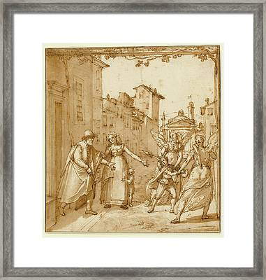 Taddeo Leaving Home Escorted By Two Guardian Angels Framed Print