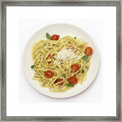 Tagliatelle With Pesto And Tomatoes From Above Framed Print