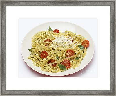 Tagliatelle With Pesto And Tomatoes Framed Print