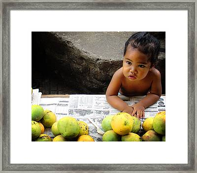 Tahitian Baby In Market Framed Print by Julie Palencia