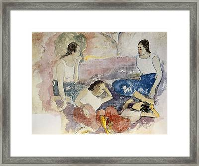 Tahitian Women, From Noa Noa, Voyage Framed Print by Paul Gauguin