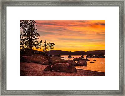 Framed Print featuring the photograph Tahoe Golden Sunset by Steven Bateson