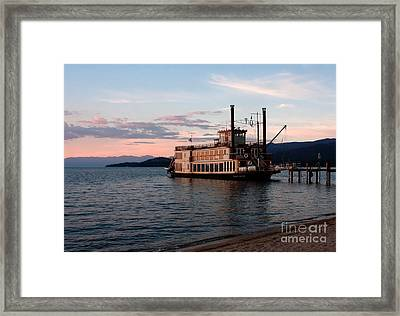 Framed Print featuring the photograph Tahoe Queen Riverboat On Lake Tahoe California by Paul Topp