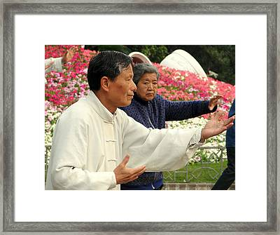 Tai Chi And Flowers Framed Print