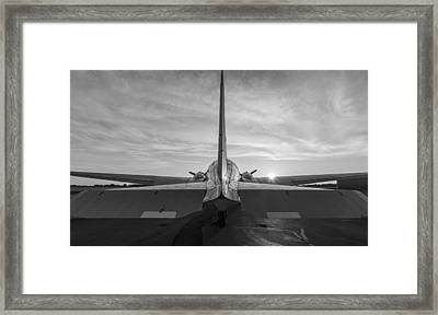 Tail End Of The Sunrise Black And White Framed Print