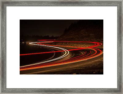 Tail Light Trails Framed Print by Joe Hudspeth