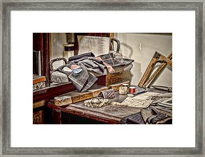 Tailors Work Bench Framed Print by Heather Applegate