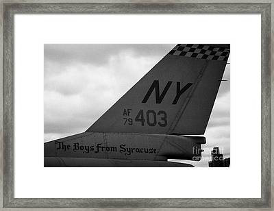 tailplane of General Dynamics F16 fighting falcon the boys from syracuse new york Framed Print