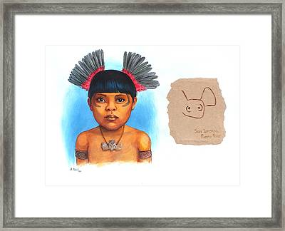 Taino Boy Framed Print by Alejandra Baiz