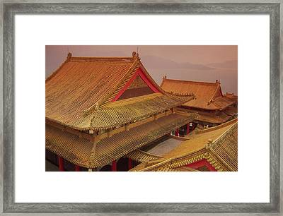 Taiwan, Wenwu Temple Rooftops With Sun Framed Print by Jaynes Gallery