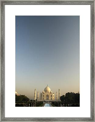 Taj And Morning Sky Framed Print