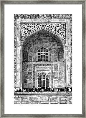 Taj Mahal Close Up In Black And White Framed Print by Amanda Stadther