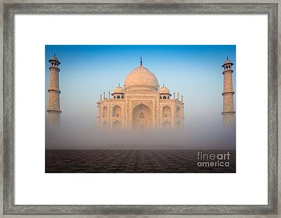 Taj Mahal In The Mist Framed Print by Inge Johnsson