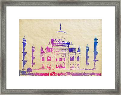 Taj Mahal Watercolor On Aged Parchment Framed Print by Daniel Hagerman