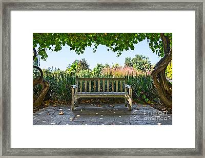 Take A Seat - Under A Pretty Gazebo Covered In Grape Vines And Leaves. Framed Print by Jamie Pham