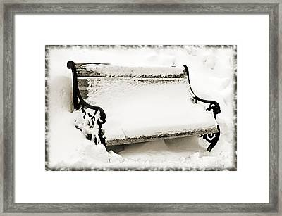 Take A Seat  And Chill Out - Park Bench - Winter - Snow Storm Bw 2 Framed Print by Andee Design