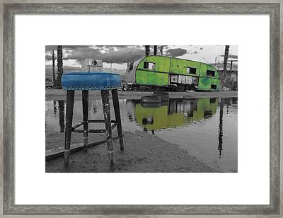 Take A Seat And Wait Ill Be Right With You Black And White Framed Print by Scott Campbell
