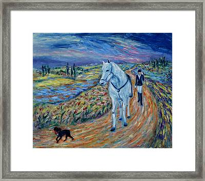 Framed Print featuring the painting Take Me Home My Friend by Xueling Zou
