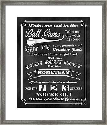Take Me Out To The Ball Game - Chalkboard Background Framed Print by Ginny Gaura