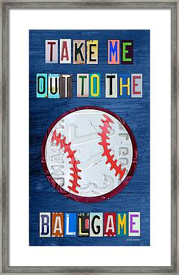 Take Me Out To The Ballgame License Plate Art Lettering Vintage Recycled Sign Framed Print by Design Turnpike