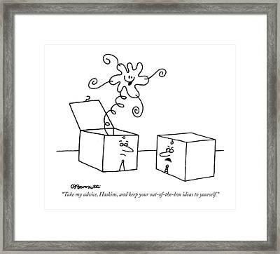Take My Advice Framed Print by Charles Barsotti
