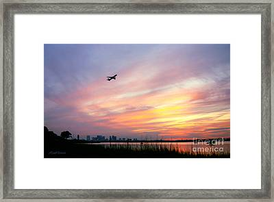 Take Off At Sunset In 1984 Framed Print by Michelle Wiarda