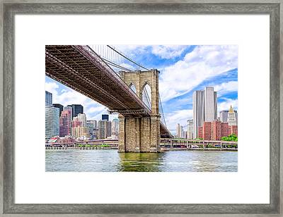 Take The Brooklyn Bridge Into Manhattan Framed Print by Mark E Tisdale