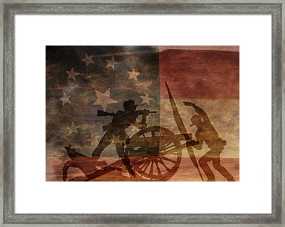Take The Cannon Silhouette Second Of Three Framed Print by Randy Steele