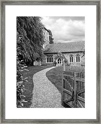 Take The Right Path - Church Black And White Framed Print by Gill Billington