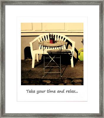 Take Your Time And Relax Framed Print by Susanne Van Hulst