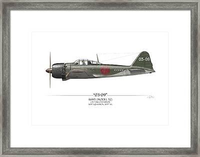 Takeo Tanimizu A6m Zero - White Background Framed Print by Craig Tinder