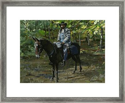 Tennessee Man On Mule Framed Print by Don  Langeneckert