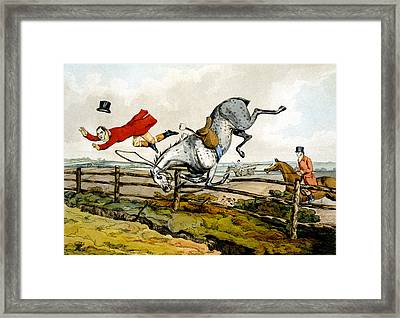 Taking A Tumble From Qualified Horses And Unqualified Riders Framed Print by Henry Thomas Alken