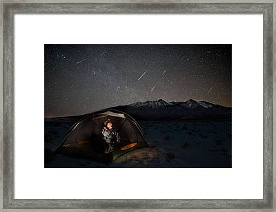 Taking Cover From The Quadrantids Meteor Shower Framed Print by Mike Berenson