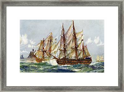 Taking On The Duguay Trouin After Trafalgar Framed Print by Charles Edward Dixon