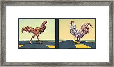 Tale Of Two Chickens Framed Print by James W Johnson