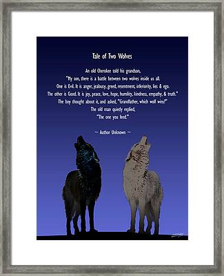Tale Of Two Wolves Framed Print by IM Spadecaller
