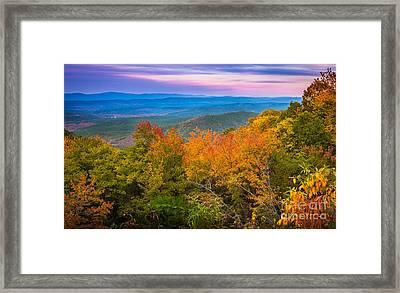 Talimena Autumn Vista Framed Print by Inge Johnsson