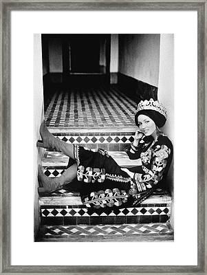 Talitha Getty Wearing A Berber Wedding Dress Framed Print