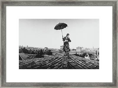 Talitha Getty Walking On Rooftop In Rome Framed Print