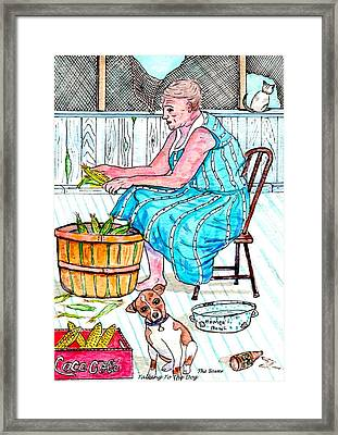 Talking To The Dog - Sitting On The Front Porch Framed Print by Philip Bracco