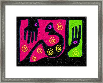 Talking To The Hand Of God Framed Print by e9Art