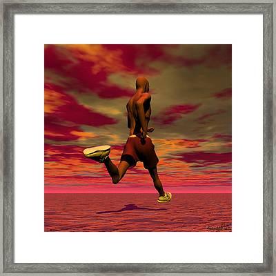 Tall Runner Framed Print by Walter Oliver Neal