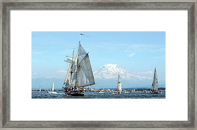 Tall Ship And Mount Rainier Framed Print
