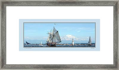Tall Ship And Mt. Rainier Framed Print