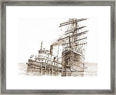 Tall Ship Assist Sepia Framed Print by James Williamson