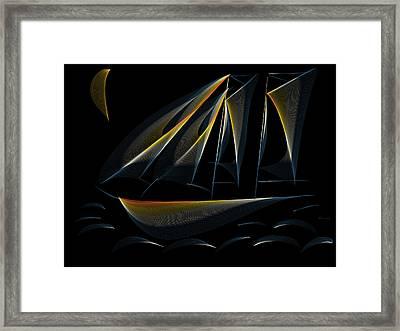 Tall Ship Dark Night Framed Print