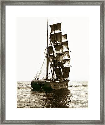 Framed Print featuring the photograph Tall Ship Germania Out Of San Francisco California  Circa 1900 by California Views Mr Pat Hathaway Archives