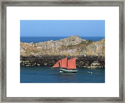 Tall Ship In Sea, Pointe Du Grouin Framed Print
