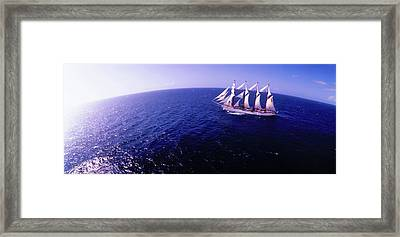 Tall Ship In The Sea, Puerto Rico, Usa Framed Print